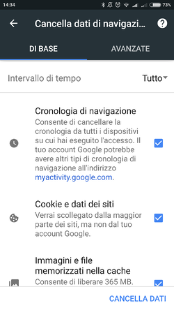 cancellare cache cookie cronologia chrome