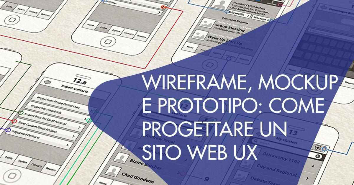 Wireframe Mockup Prototipo sito web UX